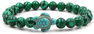 أساور سلحفاة البحر المحيط حفظ مجوهرات الشاطئ للنساء الرجال 8 مم الحجر الطبيعي المطاط الصداقة الخرز سوار