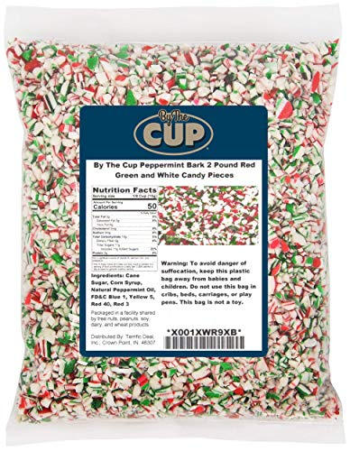 By The Cup Peppermint Bark Candy 2 Pound Red Green and White Candy Pieces