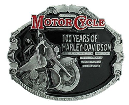 Officially Licensed 100 Years of Harley Davidson Classic Motorcycle Gürtelschnalle in einer meiner Präsentationsschachteln.