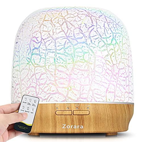 Diffusore di oli essenziali, 550 ml, in vetro 3D, umidificatore a nebbia fredda, con telecomando, timer, luci LED a 7...