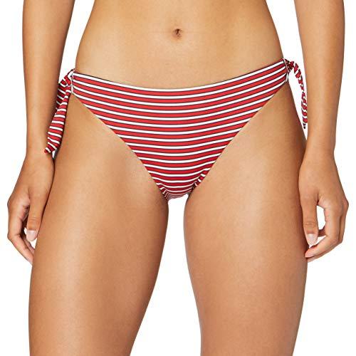 Emporio Armani Swimwear Damen Swimwear Brief with Bows Beachwear Logo MARINIèRE Bikinihose, Rot (Riga Rosso/B.Co/Blu 30674), 36 (Herstellergröße: S)