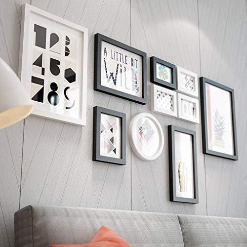 ZPQJH Multi-foto fotolijst Combinatie Wanddecoratie Creatieve Effen Hout DIY Woonkamer Restaurant Fotobehang Achtergrond Wanddecoratie (zwart Wit)