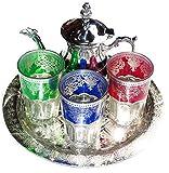 Juegos DE TÉ MARROQUIES KENTA ARTESANIAS : Bandeja 25 CM + 3 Vasos + Tetera para 3 Artesanal (Multicolor)