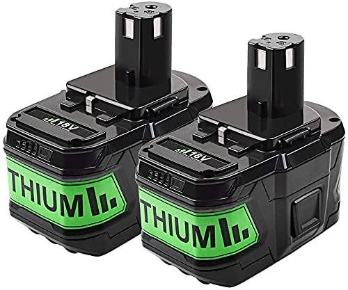 POWTREE P108 18V 9.0Ah Lithium-ion Battery Replacement for Ryobi ONE+ P108 P102 P103 P104 P105 P107 P109 P122 Cordless Power Tools Battery with LED Indicator(2 Pack)