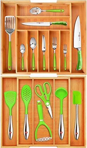 Organizador de cajones de bambú y organizador de cajones de utensilios por
