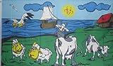 Kühe und Schafe Fahne / Flagge an der Küste 1,50x0,90m Motiv 2010