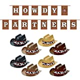 Western Party Supplies -'Howdy Partners' Letter Banner and Mini Cowboy Hat Decorations Set (9 Piece Set)