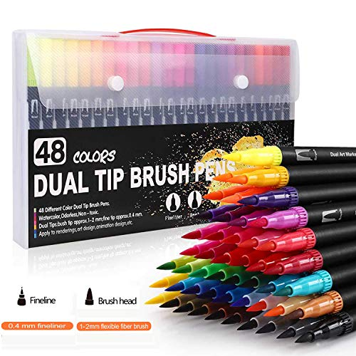 Dual Tip Art Markers Brush Pens,Artist Colored Fineliner Pens 48 Colors Double Line Outline Marker,Brush Tips & Colored Fine Point Pen Set for Lettering Writing Coloring Drawing,Planner Art Supplier