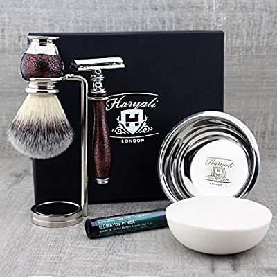 Haryali London Mens Shaving Kit with Double Edge Safety Razor, Synthetic Hair Shaving Brush, Stand, Bowl and Alum Pencil Perfect Set for Men