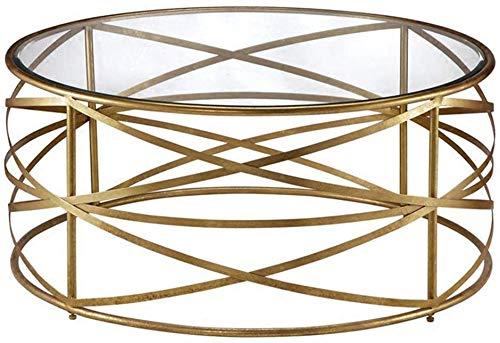 TZSXCJ Vidrio Templado Tabla de la Mesa Redonda Ocio Mesa de luz Tresillo de rincón Mesa for Sala de Estar, Marco geométrico Metal (Oro) X5C0J9 (tamaño : 80 x 80 x 45 cm)