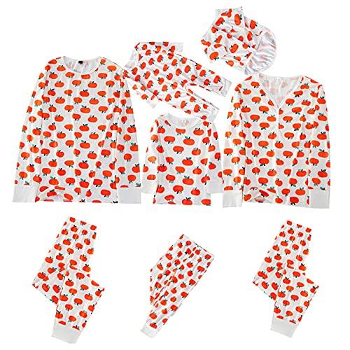 Halloween| Conjunto de pijama familiar de Navidad con botones de impresión de frutas y dibujos animados para dormir de 2 piezas, Mujeres Naranja, XL