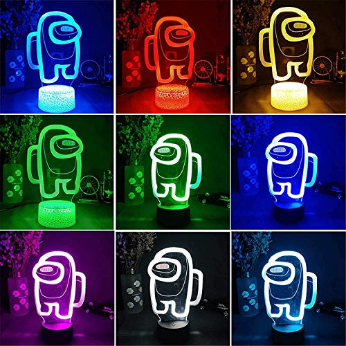 Among Us 3D Illusion Table Lamp - 7/16 Colors Cool Among us Game 3D Lamp Player Gift Table Desk Lamp, USB Powered Led Lights with Touch Switch for Kids Gifts Black Lamp Base 16 Color with Remote
