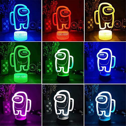 LOYALSE Among us Tischlampe 3D Illusion 16 Farben unter uns Spieltischlampe Stimmungslicht Nachttischlampe LED Sensor Lichter für Kinder Geschenke Schlafzimmer Dekoration