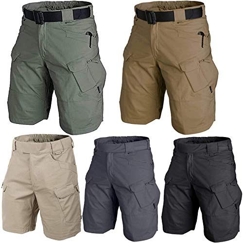 LINPING 2021 Upgraded Waterproof Tactical Military Shorts,Quick Dry Breathable, Men's Hiking Relaxed Fit Cargo Shorts (Khaki, 5XL)