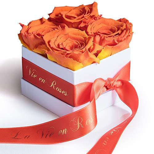 """ROSEMARIE SCHULZ Heidelberg Konservierte Rose - Blumen 3 Jahre HALTBAR - in weißer Rosenbox mit Satinband in Orange und Goldschrift """"La Vie en Roses"""" (Orange)"""