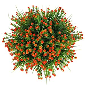 HONGER Artificial Flower Faux Silk Daisy Wildflowers Greenery Shrubs Plants Plastic Bushes Indoor Farmhouse Outside Garden Planter Wedding Decoration Plant Placement 6 Bunches,E