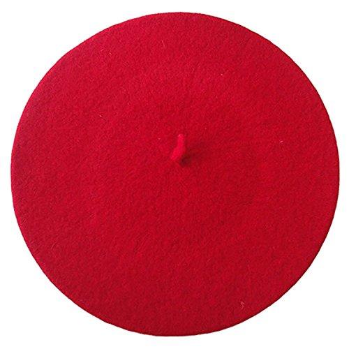 Damenmütze Mütze Baske Baskenmütze Wollmütze Beret Cap Farbauswahl (Rot)