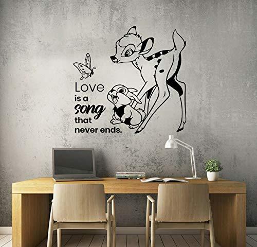 wopiaol Bambi Cartoon Muurtattoo Leven citaat vlinder konijntje kinderen slaapkamer kinderkamer huis decoratie deur raam vinyl sticker liefde muurafbeelding