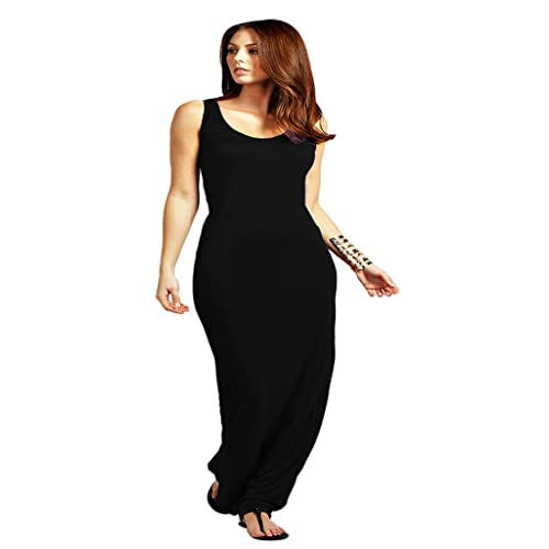 9ad9968c4ff2a MKL Ladies Summer Plain Racer Sleeveless Scoop Neck Muscle Back Jersey Maxi  Dress Plus Size 8