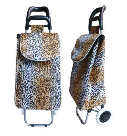 RoyalFay® Einkaufstrolley Einkaufswagen Shopper Leoparden-Design 38 L Volumen