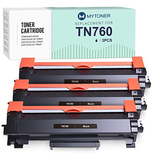 MYTONER Compatible Toner Cartridge Replacement for Brother TN760 TN-760 TN730 TN-730 for MFC-L2750DW MFC-L2710DW MFC-L2690DW HL-L2350DW HL-L2395DW HL-L2390DW HL-L2370DW DCP-L2550DW(Black, 3-Pack)
