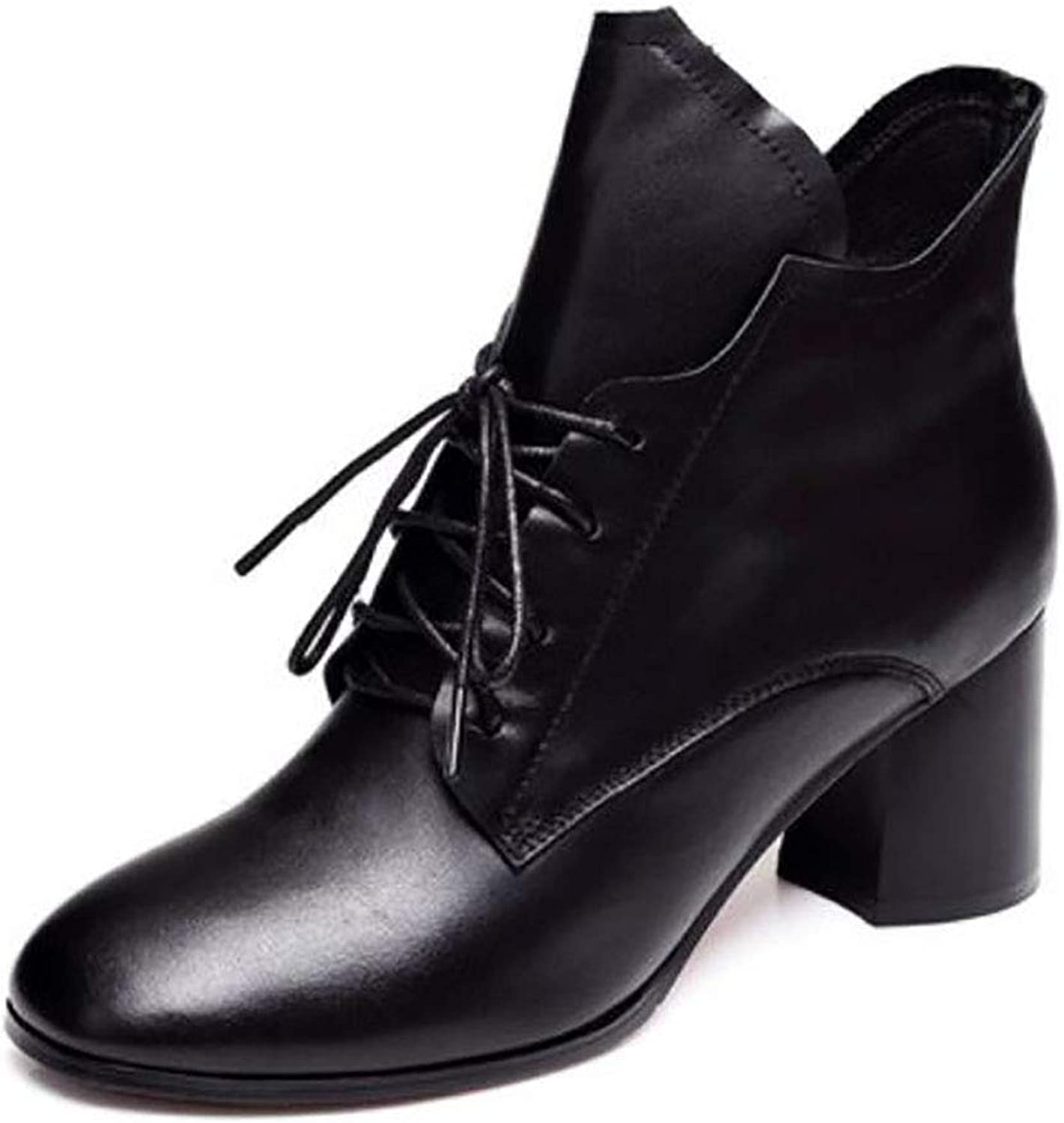 Women's shoes Winter Pointed Thick with Ankle Boots Female high Heel Female Leather Martin Boots (color   A, Size   36)