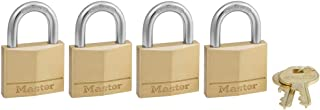 Master Lock 140Q Solid Brass Keyed Alike Padlocks, 4 Pack, Brass