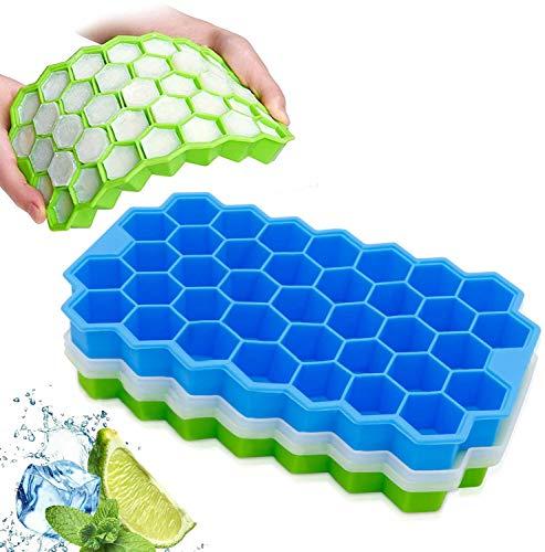 Ice Cube bandejas con Tapas, Henglisam 2 unidades 74 Cubitos de hielo de Silicona de Grado Alimenticio sin BPA,Resistentes a Derrames, Fáciles de Liberar,Apilables Moldes para Bebidas Frías