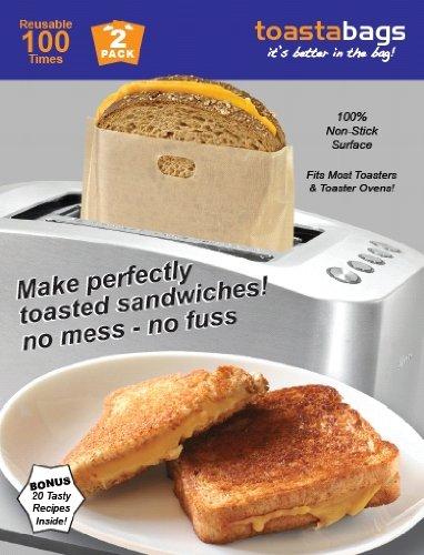 Toastabags - Bolsas para tostadora, Reutilizables, 100 usos, 2 Unidades, Doradas