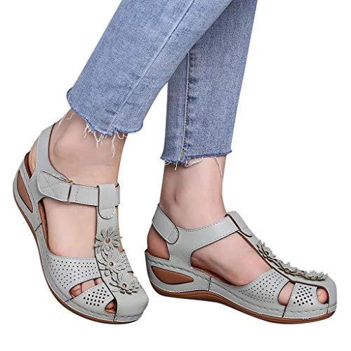 Winging Sandalias Señoras Cómodas Sandalias de Punta Redonda Hueca del Tobillo Zapatos Casuales de Suela Blandaretro Europeo Y Americano Flores de Gran Tamaño Ligeras Suela Suave Hueca