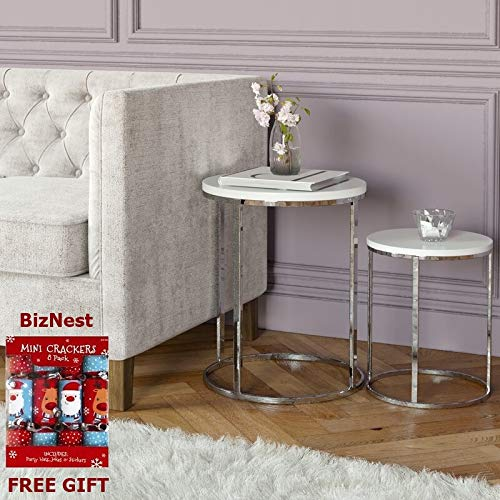 Biznest Norsk Nest Of 2 Tables Chrome Legs With White High Gloss Top Round MINI Crackers Set Box 8 6.5'.'