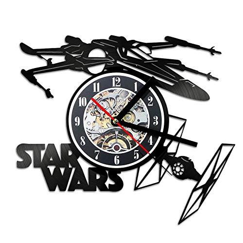 GVC Creative 3D LED Schallplattenuhr Star Wars Theme Flugzeug Modell Hohlwanduhr Vinyl Schallplattenmaterial Antik Stil Hängende Uhr