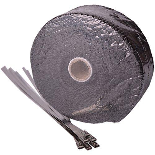 Hitzeschutzband Fiberglas schwarz 10m zur ummantelung von Auspuffanlagen inkl. 6 Edelstahl Kabelbinder Auto Motorrad Bike