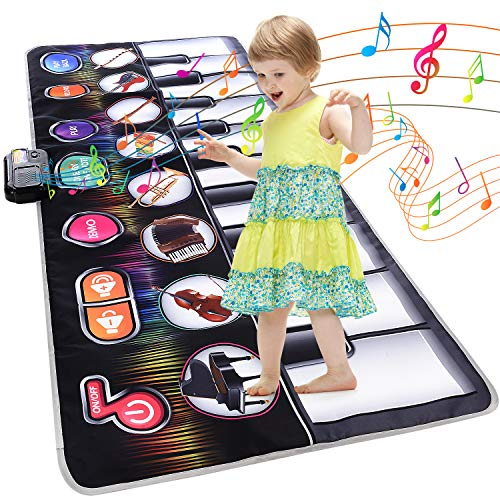 Cyiecw Piano Music Mat, Keyboard Play Mat Music Dance Mat with 19 Keys Piano Mat, Selectable Musical Instruments Build-in Speaker & Recording Function Toys for Toddlers Kids 58.26 x 23.62 in