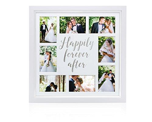 Pearhead Happily Ever After Collage aandenken bruiloft fotolijst, hout, zilver, 2,05 x 51,43 x 51,43 cm