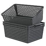 Ggbin Plastic Basket for Organizing, Grey Basket Bins, 13.8'x10.2'x5.7', Set of 3