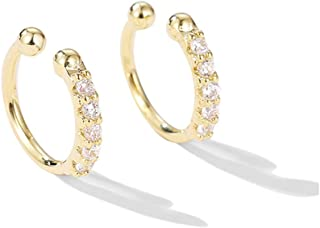 Ear Cuff Clip On Fake CZ Earrings Small Hoop Huggies Sterling Silver Cubic Zirconia No Piercing Cartilage Earring for Women Girls Hypoallergenic Huggie Hoops 10mm Gifts BFF