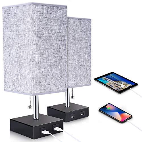 ENCOFT 2 er Pack E27 Tischlampe Nachttischlampen mit 2 USB Anschluss mit Ladefuktion Schreibtischleuchte quadratisch Lampenschirm für Schlafzimmer Wohnzimmer eckig(Style 1, 2 Pack)