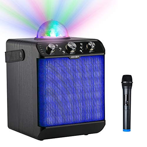 HIKEP Bluetooth Karaoke Machine with Disco Ball, Portable PA System Rechargeable Wireless Speaker for Kids Adults with Wireless Microphone for Halloween, Karaoke Activities-Black