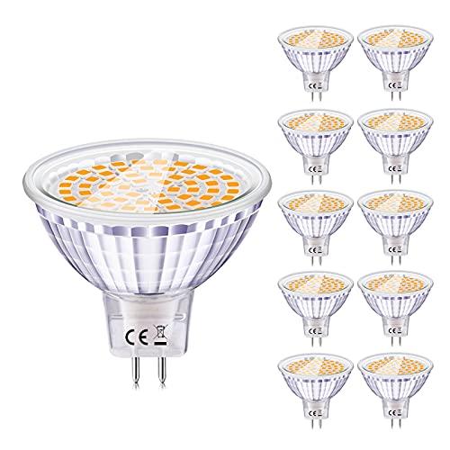 Eofiti Bombillas MR16 LED 12V, LED GU5.3 6W Equivalente a Halogeno 50W Foco GU 5.3 Blanco Cálida 2700K Luz MR 16 Spotlight 540LM Ojo de Buey 120 °Ángulo de Haz No Regulable Pack de 10