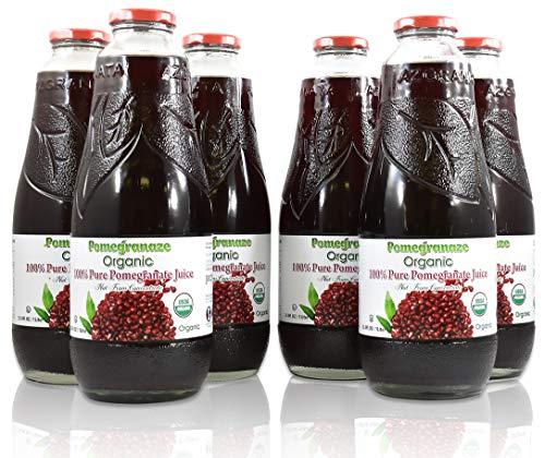 100% Pomegranate Juice - USDA Organic Certified - Glass Bottle (6 Pack)