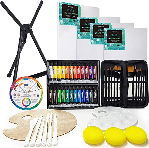MEEDEN Acrylic Paint Set with Aluminum Table Easel, 53-Piece Art Painting Set, Paint Supplies Kit, 24 Acrylic Paints, Stretched Canvas, Paint Brushes and More for Adults & Beginners