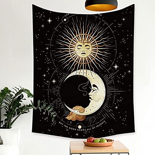 Tapiz de niña de fase lunar india para colgar en la pared, tapiz de mandala, decoración de habitación de estilo boho, manta de brujería hippie A12 73x95cm