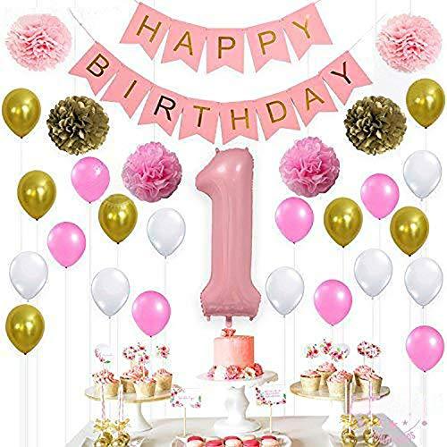 SMAQZ Globos de decoración de cumpleaños - Paquete de Carta de arreglo de Fiesta de cumpleaños.Paquete Rosa de un año