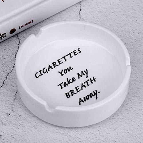AMITD keramische zwart-wit rond Engels Quotation Hotel Restaurant asbak houder sigarettenhouder roken geschenk vriend-We White_China (Color : You White) Cigarette White Sigarette White