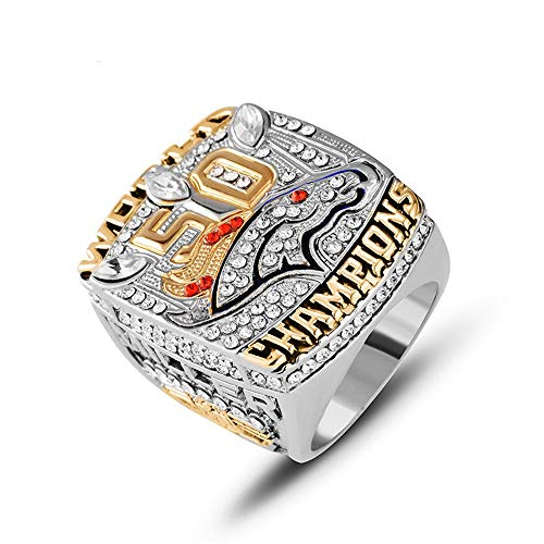 WANZIJING Super Bowl Ringe, 2015 Denver Broncos Championship Ring Zirkonia Sport Fan Ringe für Collection,A,12