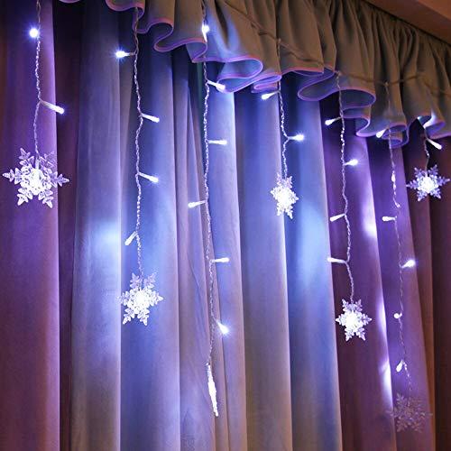 OUPPENG 3.5m 96 LEDs Luces de cortina de navidad al aire libre Copo de nieve LED Luz de cadena Jardín Decoración para el hogar Luz de Navidad LED Luz de cortina Q30 (Emitting Color : Purple)