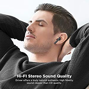 LETSCOM Wireless Earbuds, Bluetooth 5.0 Earbuds in Ear True Wireless Stereo Headphones, 20Hrs Playtime with Charging Case, Bluetooth Earbuds with Built-in Microphone for Sports and Work - Black