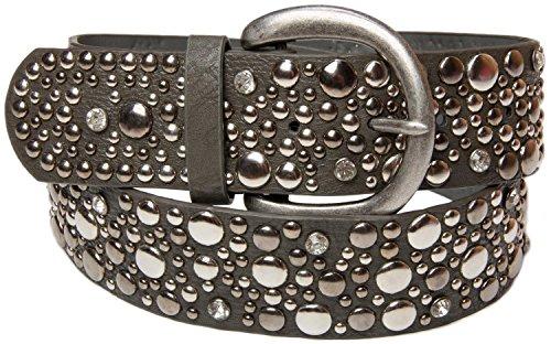 styleBREAKER Nietengürtel im Vintage Style, breiter Gürtel mit Nieten und Strasssteine, Glitzergürtel, kürzbar, Damen 03010020, Farbe:Dunkelgrau;Größe:85cm