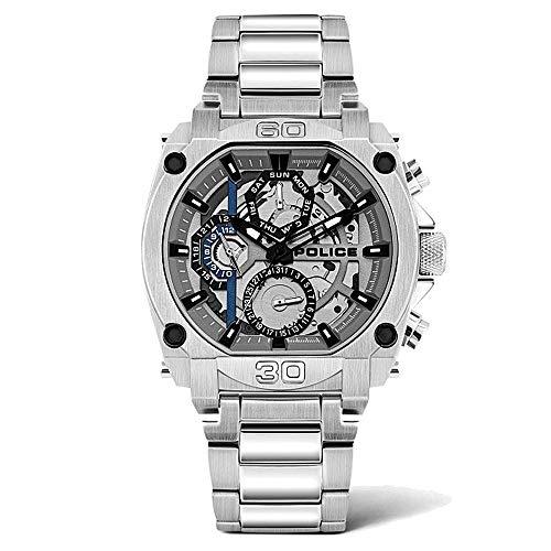 Police Unisex Erwachsene Analog Quarz Uhr mit Edelstahl Armband PL15472JS.13M